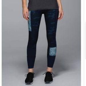 Rare Lululemon blue camo wonder under leggings